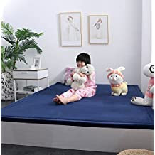 Ultra Soft 3cm Japanese Thicken Coral Velvet Carpet Children Crawling Mat Tatami Mat, Navy Blue Flannel Living Room Bedroom Mat Area Rug, MAXYOYO Soft Tatami Carpet Pad, 47 by 79 Inch