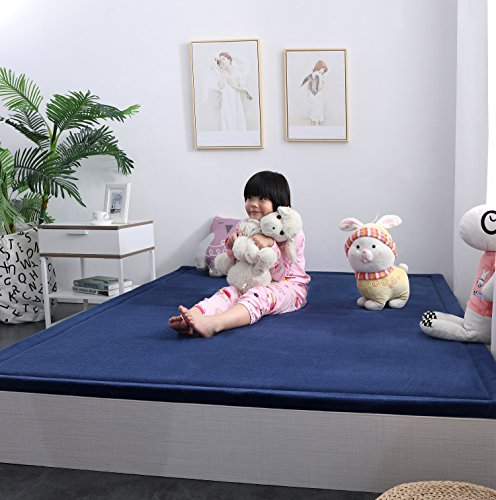 Ultra Soft 3cm Japanese Thicken Coral Velvet Carpet Children Crawling Mat Tatami Mat, Navy Blue Flannel Living Room Bedroom Mat Area Rug, MAXYOYO Soft Tatami Carpet Pad, 75 by 94 Inch by MAXYOYO