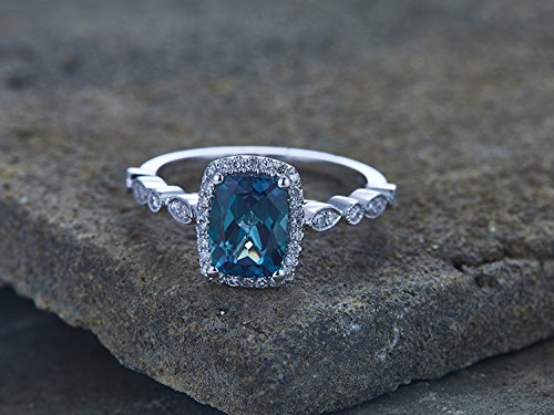 Lab Created Alexandrite Ring - Alexandrite Ring Alexandrite Engagement Ring Art Deco CZ Wedding Band 6x8mm Cushion Cut Promise June Birthstone White Gold Plated