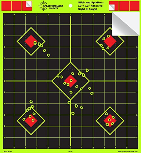 Splatterburst Targets - 12 x 12 inch Sight In 'Stick & Splatter' Self Adhesive Shooting Targets - Shots Burst Bright Fluorescent Yellow - Great for all firearms, AirSoft, BB & Pellet guns!