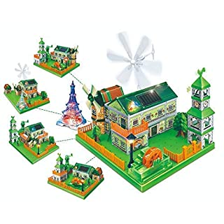 WeGetDone Building Toys for Kids STEM Educational Kits Solar Crafts 3D Construction - Green Energy Paradise Multi Building