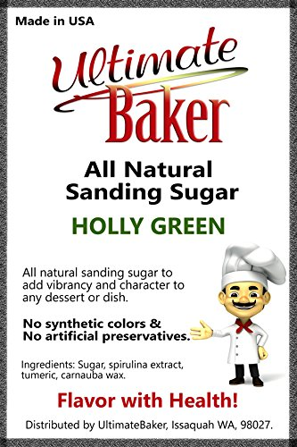 Ultimate Baker Natural Sanding Sugar (Med. Crystal) Holly Green (Holly Baking)