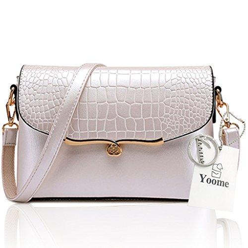 Yoome elegante bolsa de la aleta Crocodile patrón de moda bolsas de hombro para las mujeres bolsa de sobres del envoltorio - crema Crema