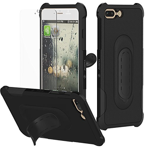 Price comparison product image iPhone 7 Plus Case built in metal kickstand - protective kit bundle and tempered glass Screen Protector Shockproof Bumper iphone 7 plus case (2017)