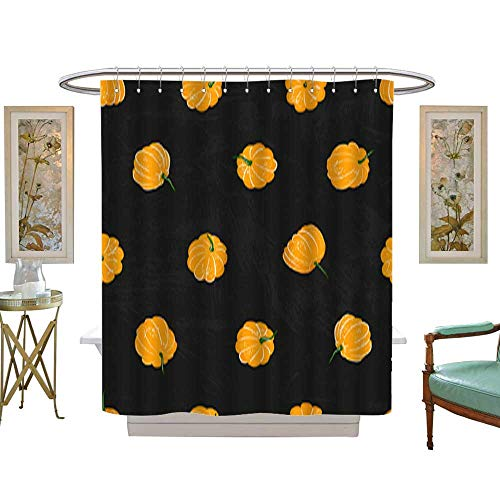 Shower Curtain Cartoon pumpkins seamless pattern Pumpkin from different sides background For fall wallpaper fabric greeting cards invitation on black background. Customize Waterproof W72 x H72 Inch -
