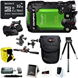 Olympus Stylus Tough TG-Tracker Action Cam Green with 32GB Bike Accessory Bundle