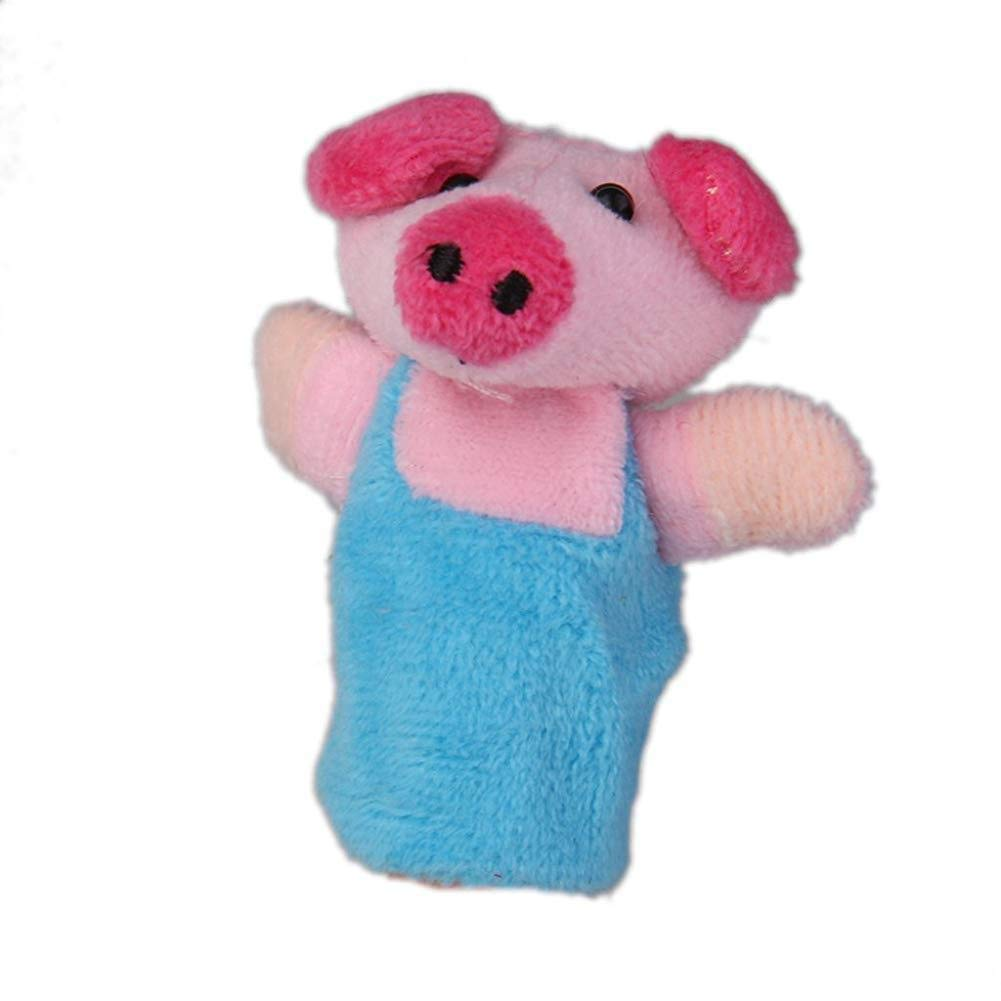 Set Of 8pcs Plush Finger Puppets Story 3 Little Pigs