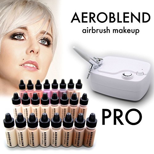 Aeroblend Airbrush Makeup PRO Starter Kit - Professional Cosmetic Airbrush Makeup System - 24 Color - Full 1-Year Warranty by Aeroblend