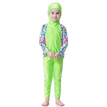 93b10ce181d0 Hougood Girls Muslim Swimming Costumes Kids Modest Islamic Hijab Swimsuits  Burkini Long-sleeved Sun Protection