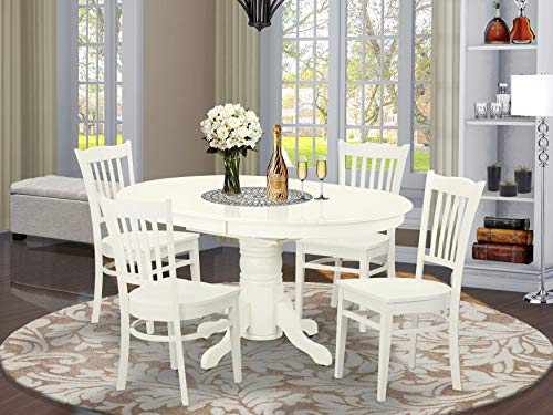 5 Pc Dining set with a Kitchen Table and 4 Wood Seat Kitchen Chairs in Linen White