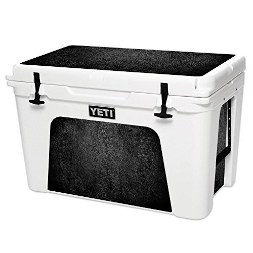 MightySkins Skin Compatible with YETI Tundra 105 qt Cooler - Black Leather | Protective, Durable, and Unique Vinyl Decal wrap Cover | Easy to Apply, Remove, and Change Styles | Made in The USA