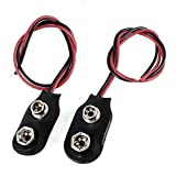 TOOGOO 2pcs 15cm Wire Cable 9V 9 Volt Battery Clip Connector I Type
