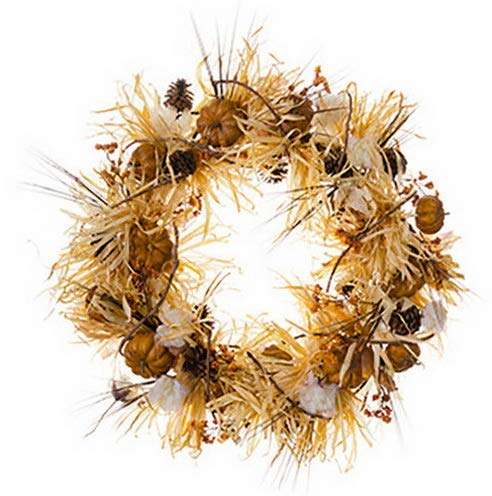 Mikash 32 Artificial Pumpkin, Berry, Pinecone Grass Hanging Wreath -Toffee/Brown | Model WRTH - 466