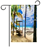 BEICICI Custom Personalized Garden Flag Outdoor Flag Relaxing Tropical Holidays with Hammock Under Palm Tree Mauritius Island Best for Party Yard and Home Outdoor Decor