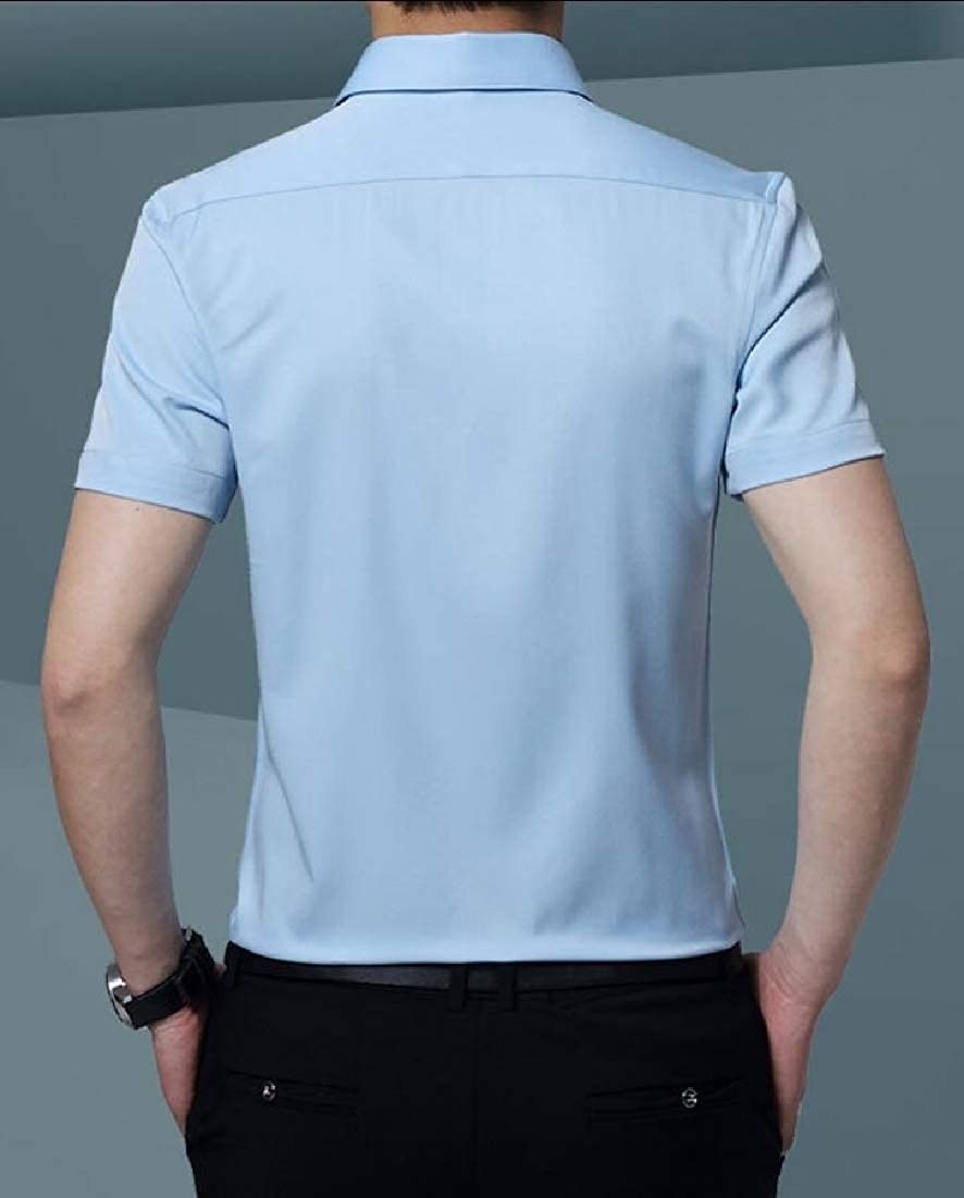 UNINUKOO Unko Mens Dress Shirts Short Sleeve Business Button Down Shirts