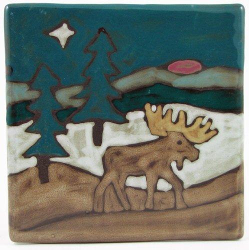 Mara Ceramic Stoneware 8 Inch Moose Trivet (Tile)