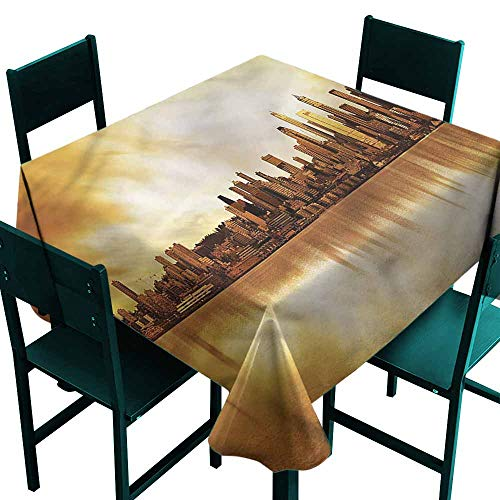 (DONEECKL Washable Tablecloth United States Seattle City Panorama Party W54)