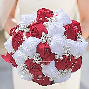 S-SSOY Customizable Romantic Wedding Bouquets Silk Flowers Bridal Holding Roses Bride Bridesmaid Brooch Bouquet with Pearl Diamond Crystal Ribbon Valentine's Day Free Corsage (Wine Red+White) 47