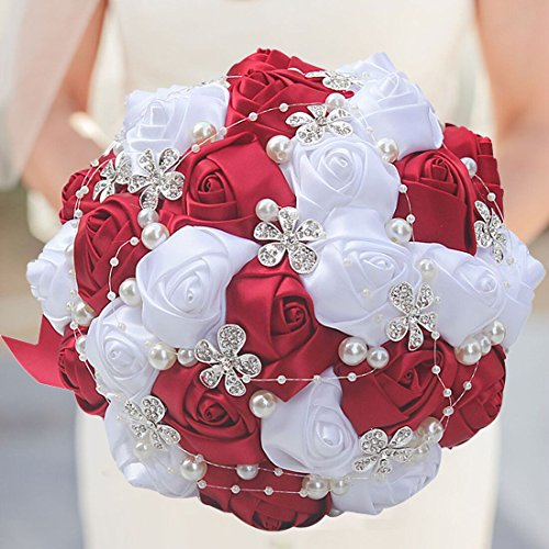 - S-SSOY Customizable Romantic Wedding Bouquets Silk Flowers Bridal Holding Roses Bride Bridesmaid Brooch Bouquet with Pearl Diamond Crystal Ribbon Valentine's Day Free Corsage (Wine Red+White)