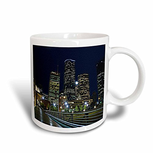 3dRose mug_184397_1 Houston Downtown Cityscape At Night, Texas, Textured Artwork Photo Ceramic Mug, - Outlets Texas Houston