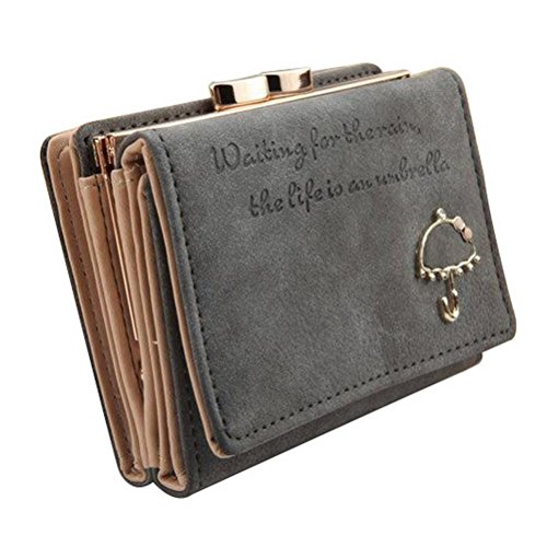 The Orient Bee Women's Vintage Trifold Suede Leather Clutch Bric Cards Holder Mini Wallets(grey) ()
