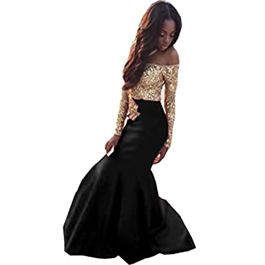 a79255ddbde Chady Lace Gold Appliques Mermaid Prom Dresses 2018 Off Shoulder Boat Neck Long  Sleeves Black Mermaid