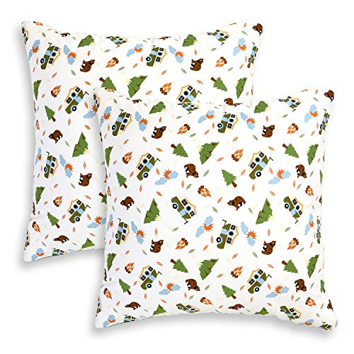 Camping Adventures Decorative Square Throw Pillow Case Covers 20 x 20 Inches, Set of 2