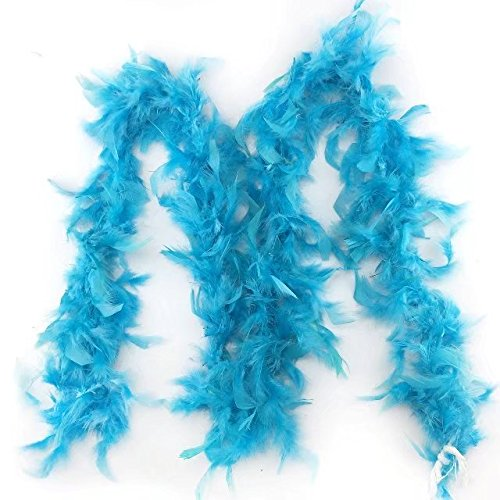 Celine lin 2 yardslot Clothing Accessories Turkey Feather Multi Color Strip Fluffy Boa Happy Birthday Party Wedding Decorations Supplies,Lake blue