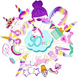 Rainbow Unicorn Photo Booth Props - Unicorn Birthday Party Supplies Decorations 30 PCS Photo Props Kit - Funny Baby Shower Favors for Girls Kids