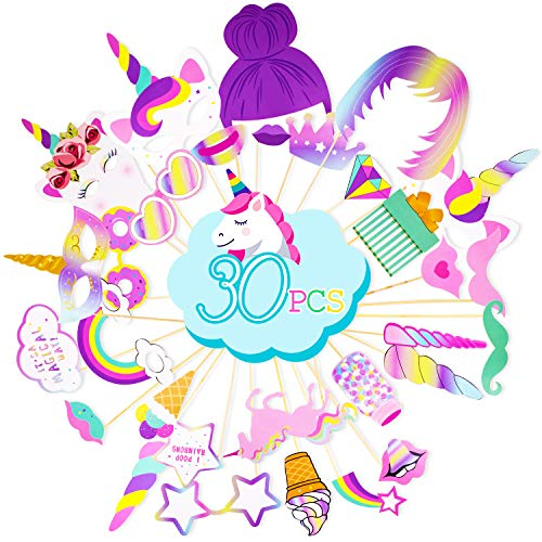 Rainbow Unicorn Photo Booth Props - Unicorn Birthday Party Supplies Decorations 30 PCS Photo Props Kit - Funny Baby Shower Favors for Girls Kids ()