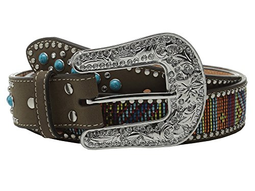 M&F Western Women's Turquoise Stone Tab Belt with Beaded Embroidery, Multi LG