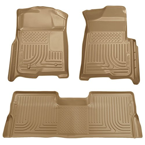 WeatherBeater Floor Liners For Ford ~ F-250 Pickup ~ 2008-2010 ~ Tan ~ Super Duty Crew Cab W/O Manual 4X4 Transfer Case