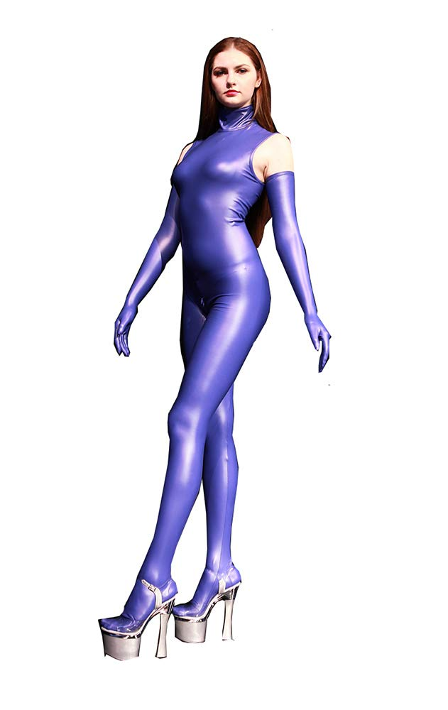 bluee Sexy Women's Latex Ammonia Siamese Tights Stage bar Cosplay Sleeveless Boss Show Catwalk Tight Jumpsuit