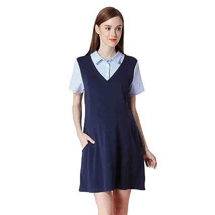 Vestido de verano para mujeres embarazadas falda de la camisa de empalme diseño de la función