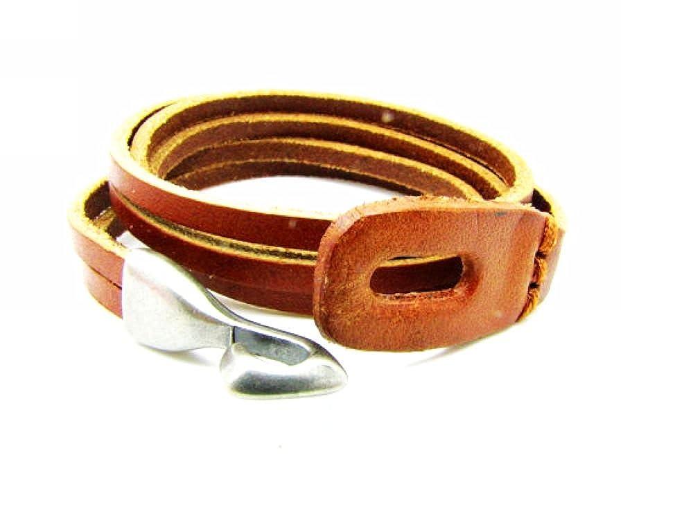 Original Tribe Men's Leather Alloy Bracelet, Cuff Bangle Sl2587 SL-DM-2587