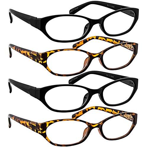 Reading Glasses 150 (4 Pack) 2 Tortoise and 2 Black - Designer Glasses Deals