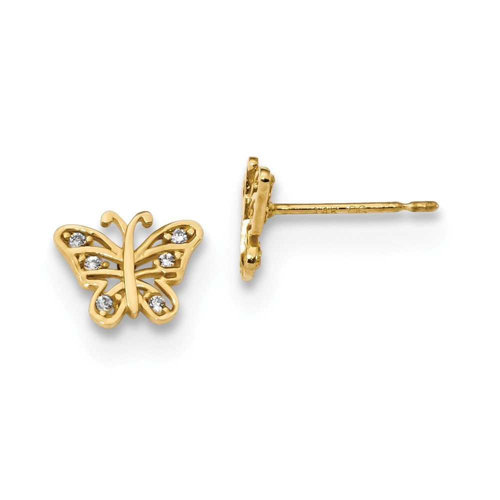 14K Yellow Gold Madi K Kids CZ Butterfly Post Earrings Childrens 8.5 mm 7 mm Button Earrings Jewelry