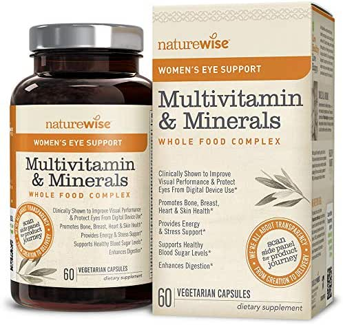 NatureWise Women's Multivitamin Whole Food Complex with Eye Support | Vitamins, Minerals, Organic Whole Foods + Lutemax 2020 Protects & Improves Vision (⬇ Watch Video in Images) [1 Month - 60 Count]