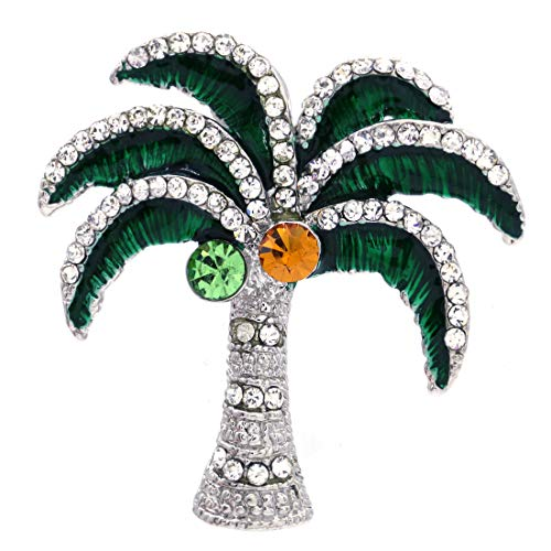Soulbreezecollection Tropical Green Beach Palm Tree Pin Brooch Rhinestones Necklace Pendant Compatible Jewelry ()