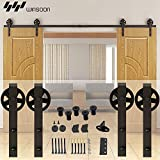 WINSOON 8FT Basic Black Wheel Roller Garage Closet Carbon Steel Double Wood Sliding Barn Door Hardware Kit Flat Track Heavy Bearing