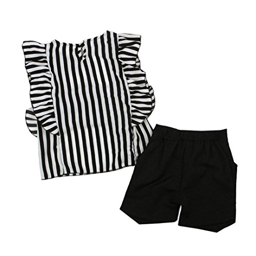 Clearance Toddler Kids Baby Girls Outfit Summer Clothes Striped SleevelessT-Shirt Tops+Shorts Pants Set (Black, 2/3T) ()
