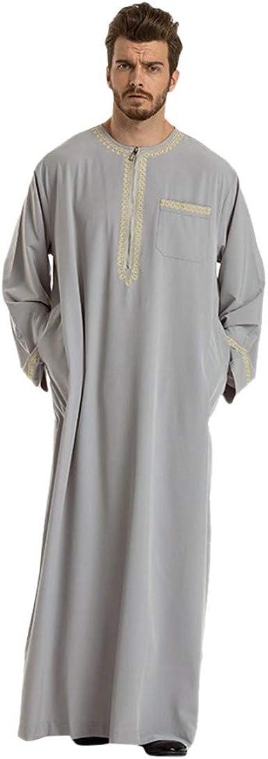 Men Robes Loose Islamic Muslim Middle East Kaftan Long Sleeve Ethnic Maxi Dress