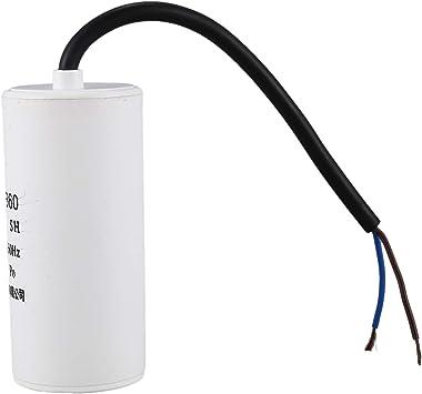 Cikuso Condensateur de fonctionnement de moteur a courant alternatif de film de polypropylene de 35uF 450V CBB60 blanc