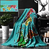 Unique Custom Double Sides Print Flannel Blankets Colorful Educational Kids Maps Decor Collection America Africa Asia Australia Pacific Super Soft Blanketry for Bed Couch, Twin Size 80 x 60 Inches