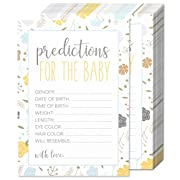 50 Sheets Baby Shower Predictions for the Baby Party Games - for Boy or Girl Unisex Gender Neutral - for 50 Guest Activities Supplies - 5 x 7 Inches