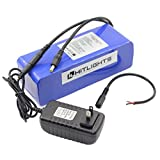 HitLights 12V DC Rechargeable Lithium-Ion Battery Pack - 20,000 mAh, Includes Charger - for LED Light Strips