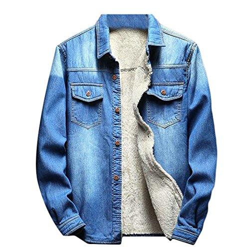 WANSHIYISHE-Men Thick Warm Slim Fit Fleece Lined Denim Jacket Coats With Pockets Dark Blue US 2XL