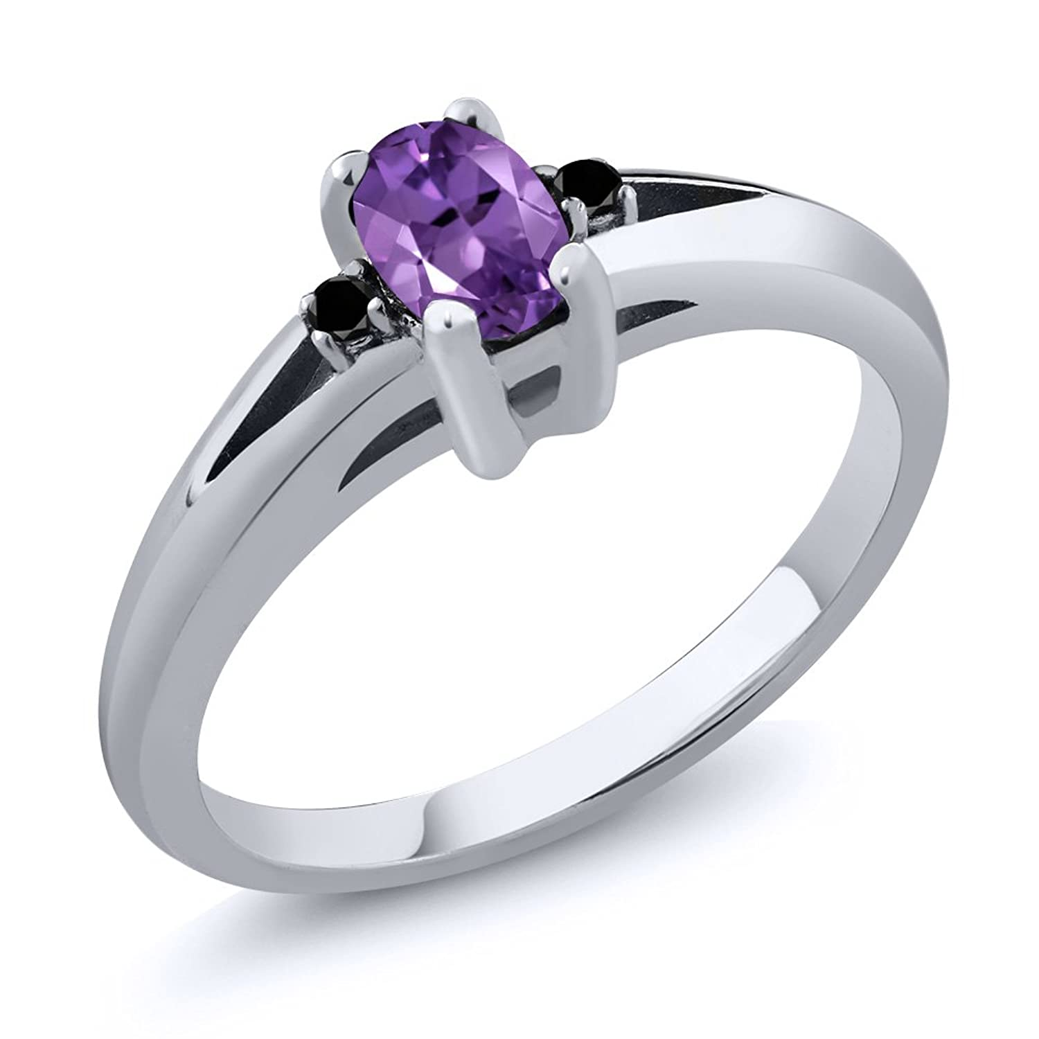 0.49 Ct Oval Amethyst and Black Diamond 925 Sterling Silver 3-Stone Women's Ring (Available in size 5, 6, 7, 8, 9)