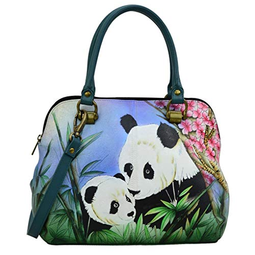 (Anna by Anuschka Genuine Hand Painted Leather | Medium Satchel | Lovable Pandas)