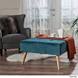 Christopher Knight Home 299920 Living Coastwood Mid Century Fusion Teal New Velvet Ottoman, Dark